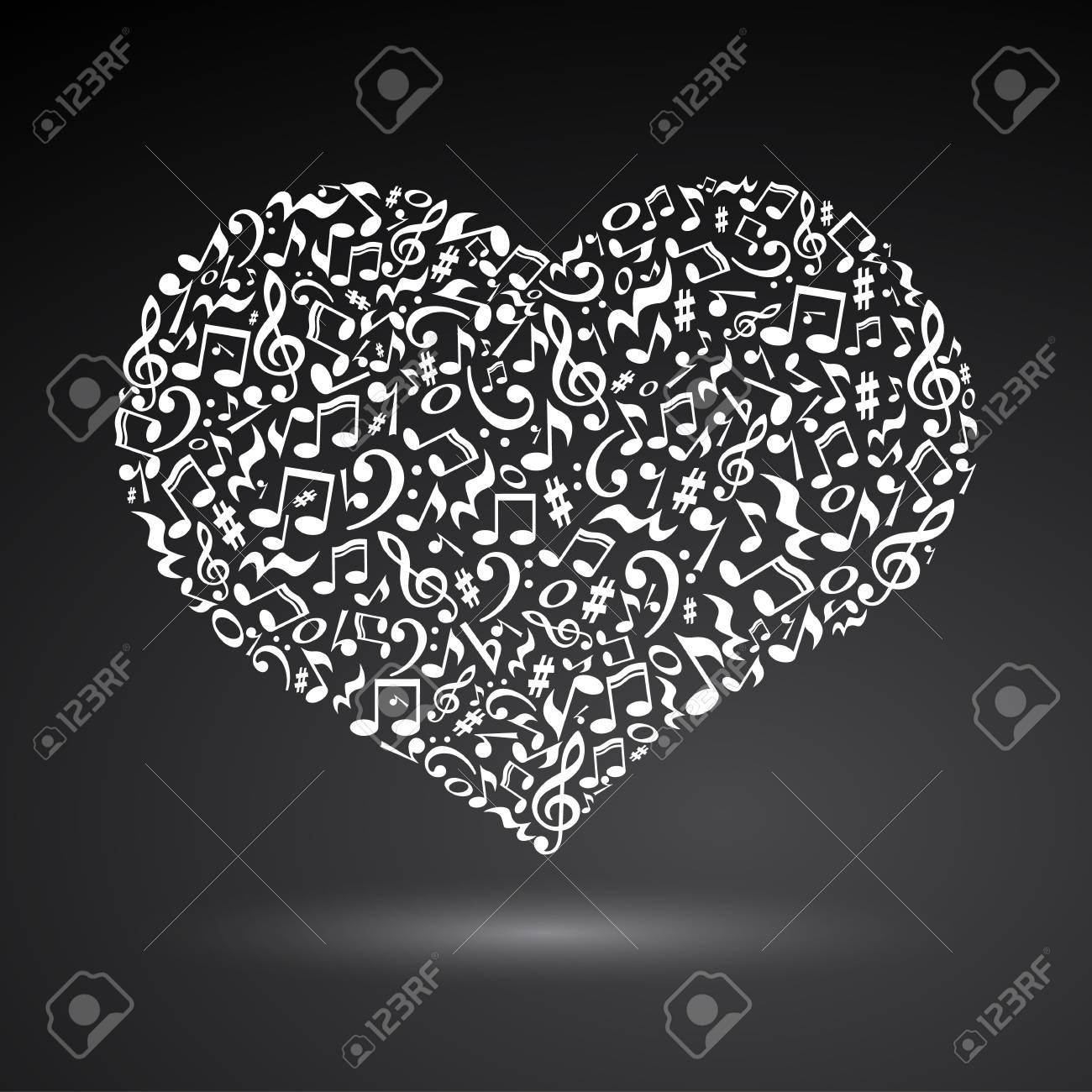 Corazón Aislado De Musicalnotes Sobre Fondo Blanco Patrón En Forma