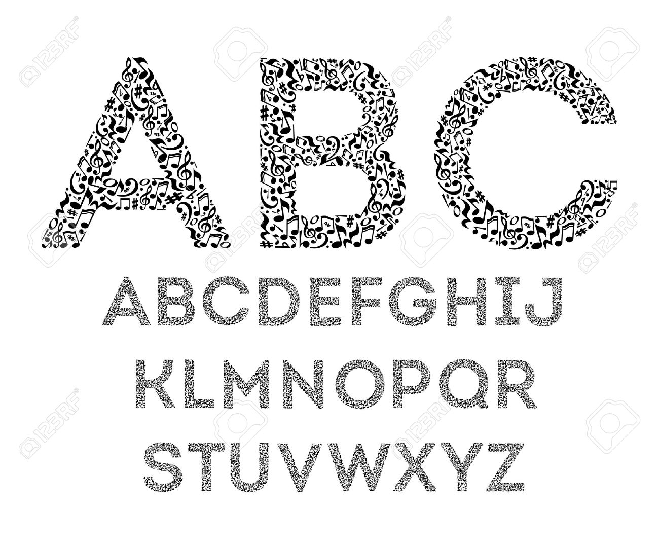 Alphabet From Musical Notes On White Background Font For Music