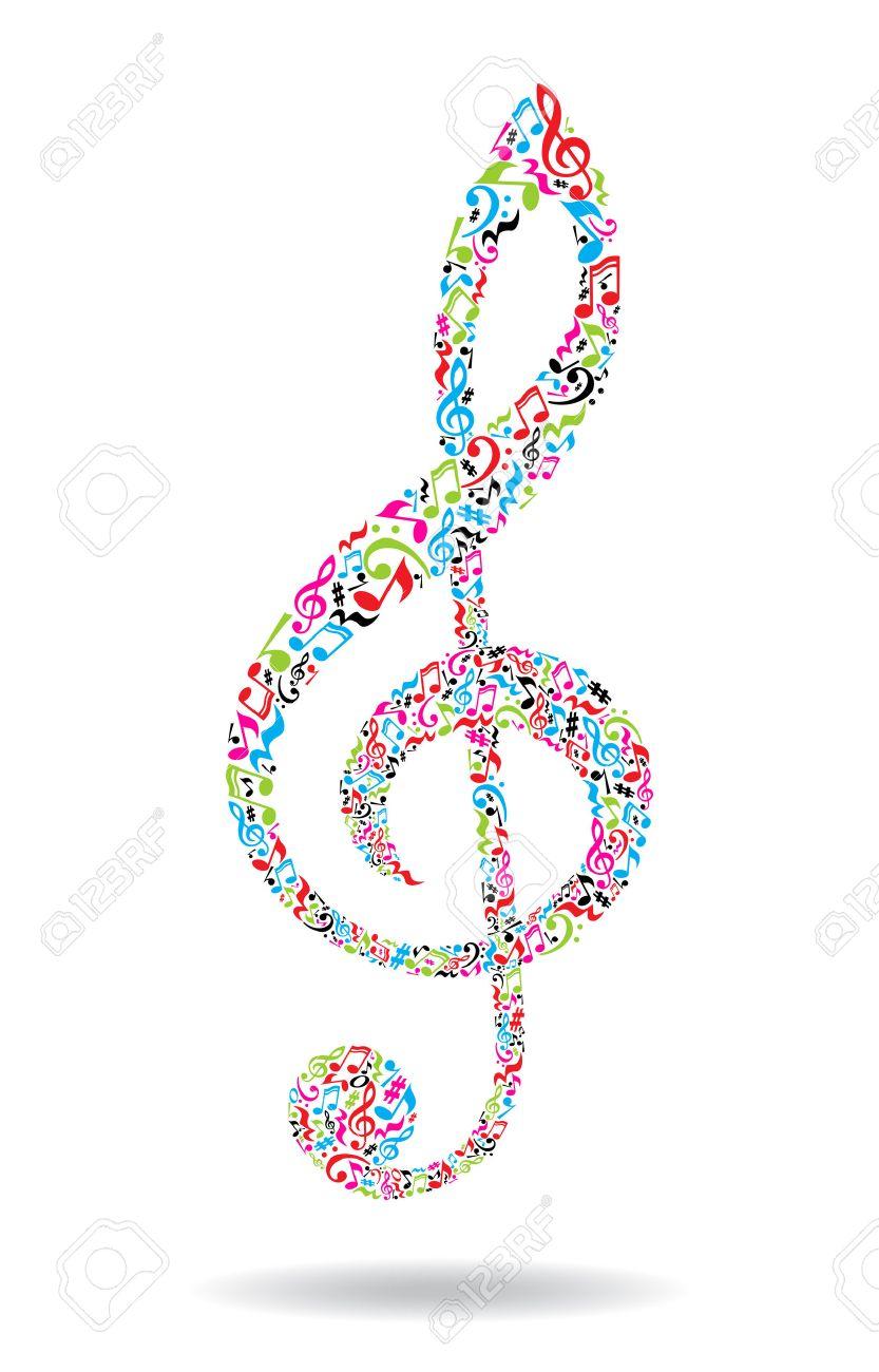 Clave De Sol Hecha De Notas Musicales Sobre Fondo Blanco. Patrón De ...