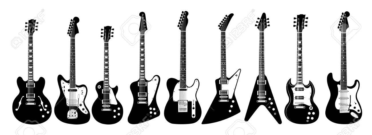 Electric Guitar Set On White Background All Guitars As Lps
