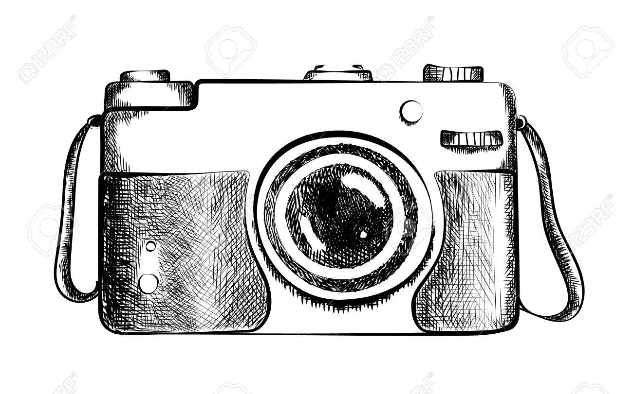 Disegno di macchina fotografica d epoca in bianco e nero con obiettivo.  Design vecchio stile. Closeup della fotocamera. Attrezzature professionali  o ... 7659de75d26