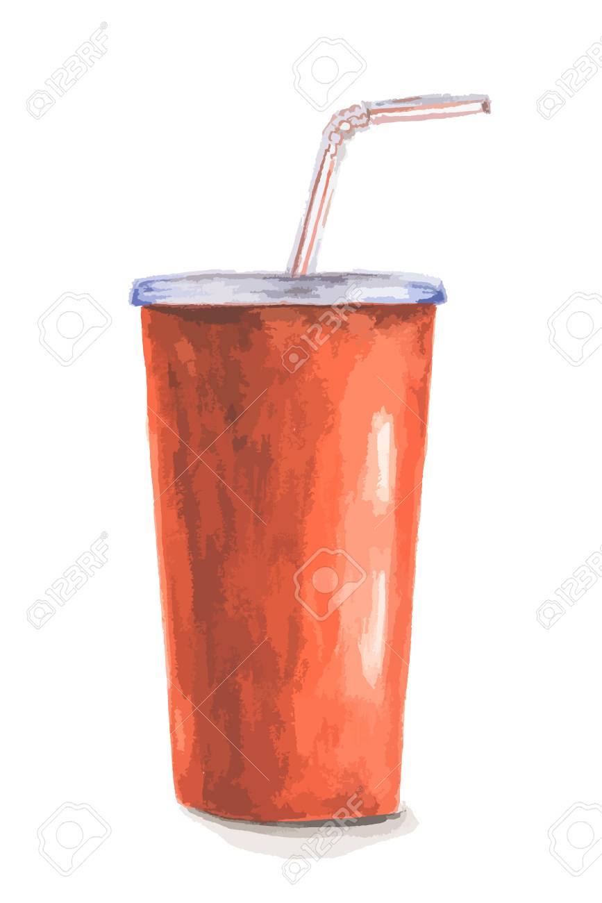 Aquarell Cola Cup. Isolierte Rote Cola-Cup Mit Sraw Auf Weißem ...