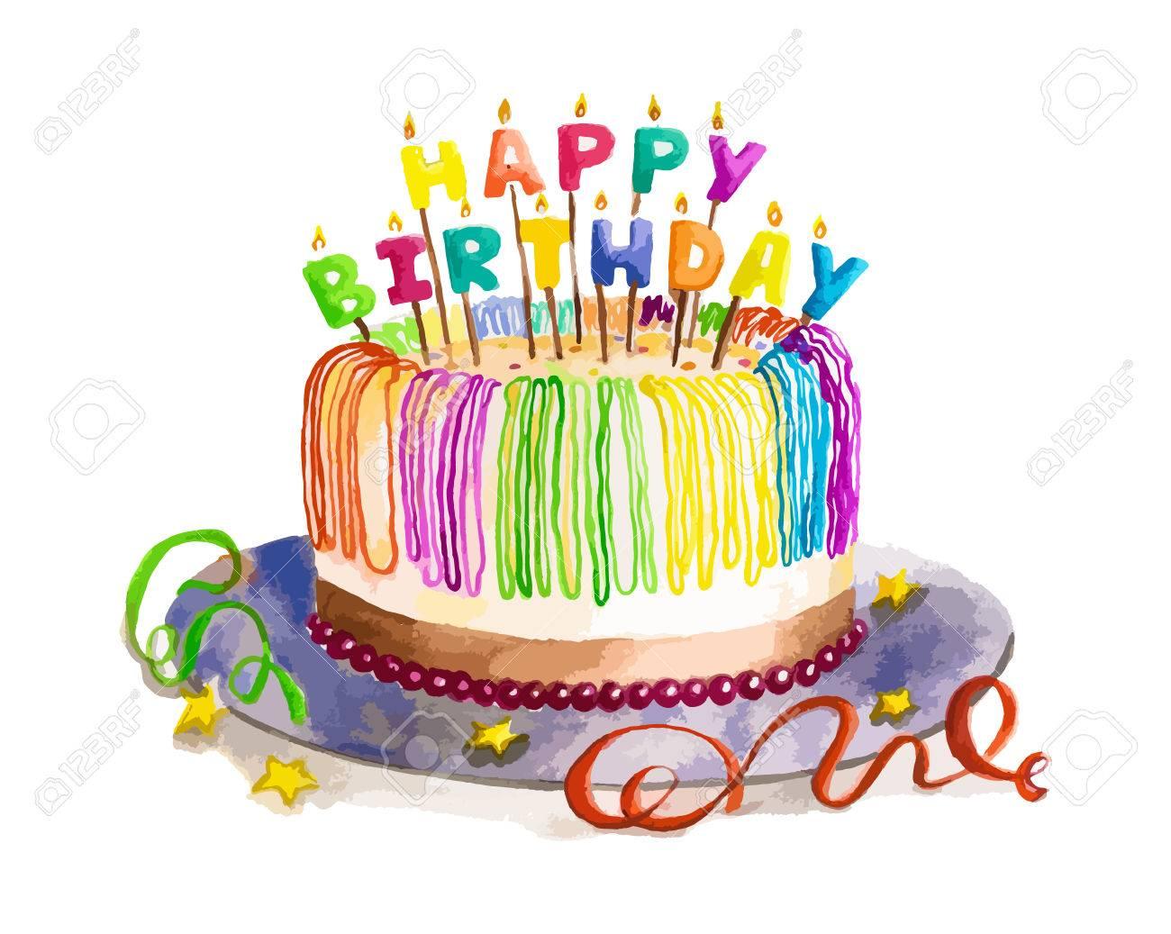 Geisoleerde Mooie Taart Aquarel Verjaardag Met Happy Birthday