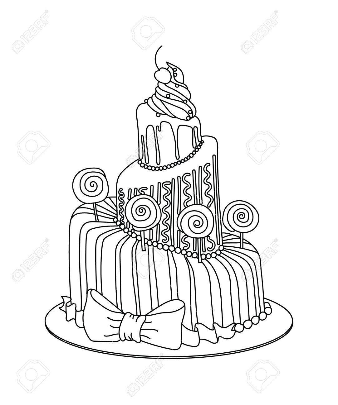 Celebration Hand Kuchen Skizze Mit Lutschern Gezeichnet Grafische
