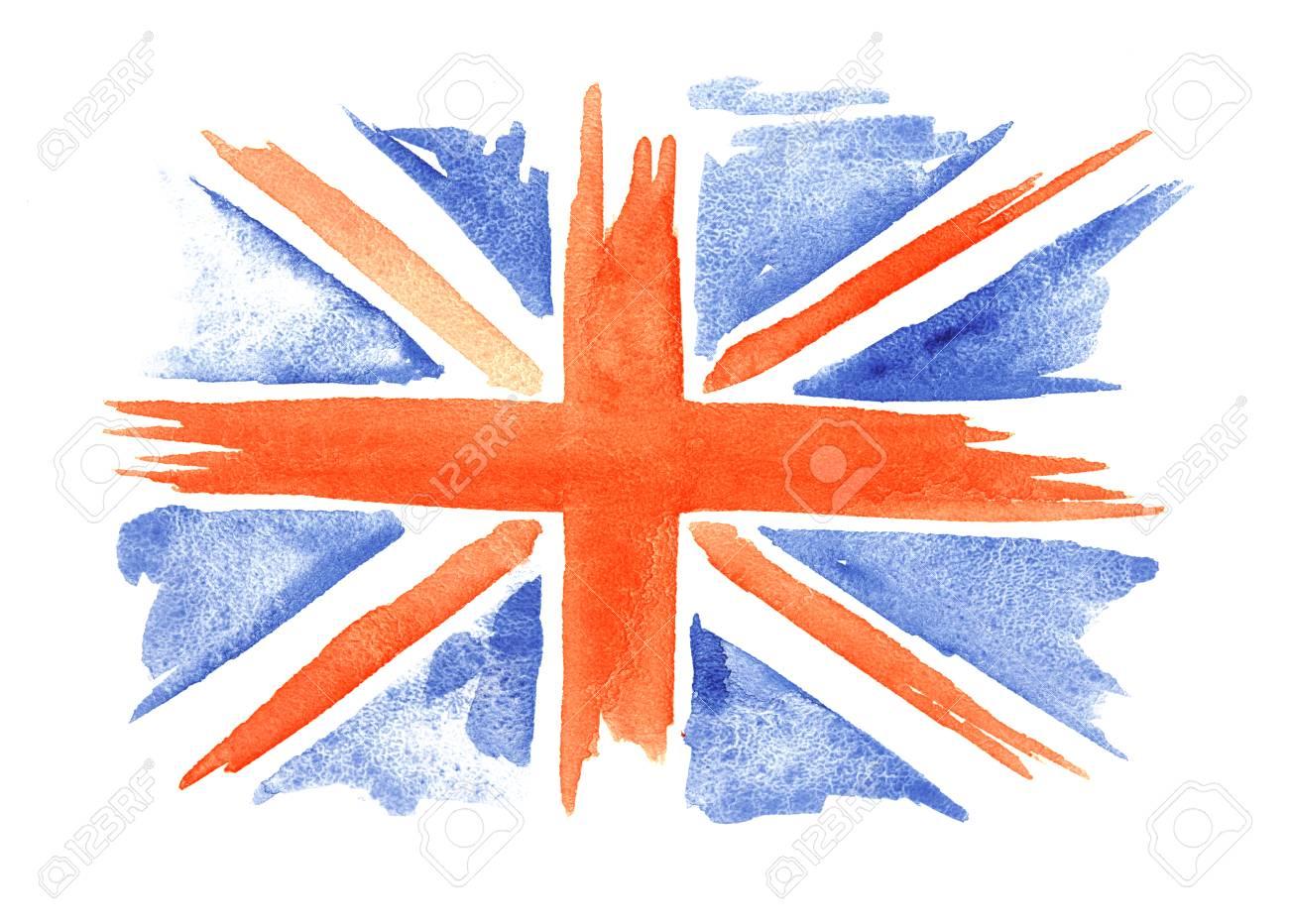 La Bandera De La Acuarela De Inglaterra En El Fondo Blanco. Gran ...