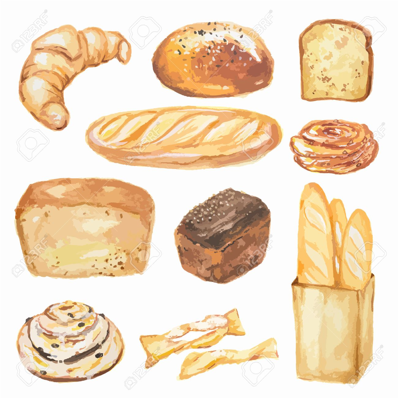 Watercolor Bread Set Different Kinds Of Bread As Baguette Loaf Royalty Free Cliparts Vectors And Stock Illustration Image 60786910