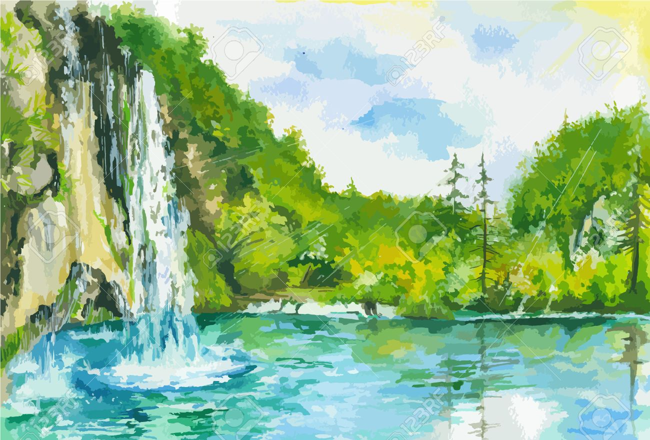 watercolor landscape with waterfall and lake summer and spring