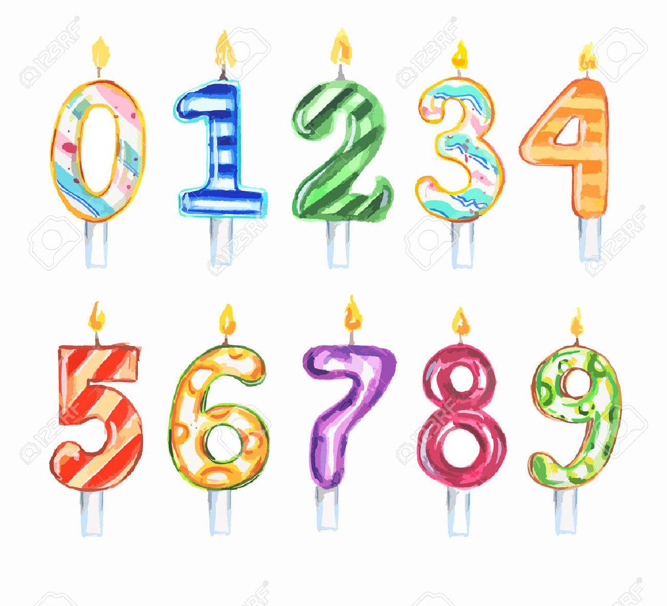 Watercolor birthday candles set. Numbers set. Colorful decoration for birthday, anniversary cake. - 60940240
