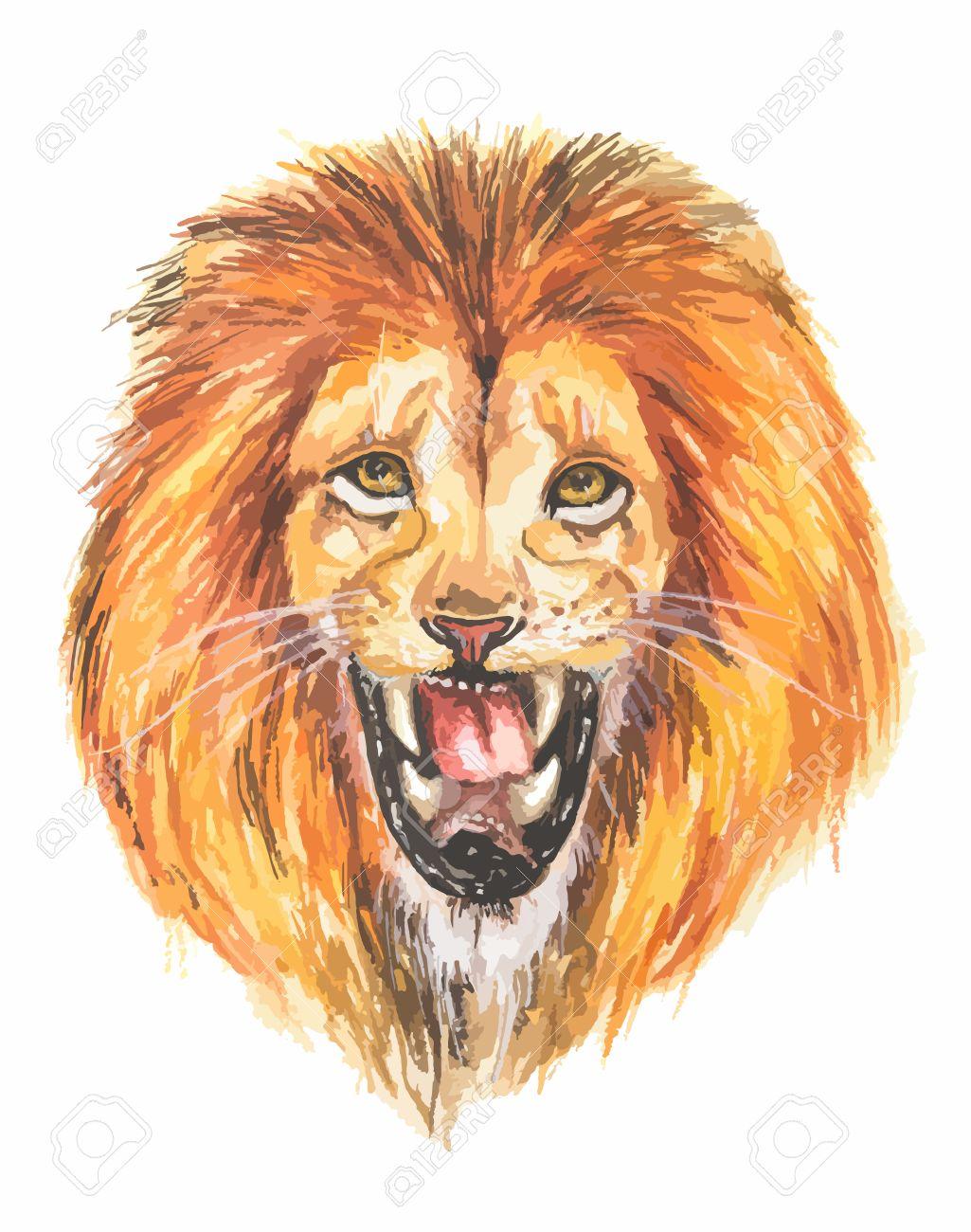 Watercolor lion roar  Big fierce lion roaring  Hand drawing illustartion