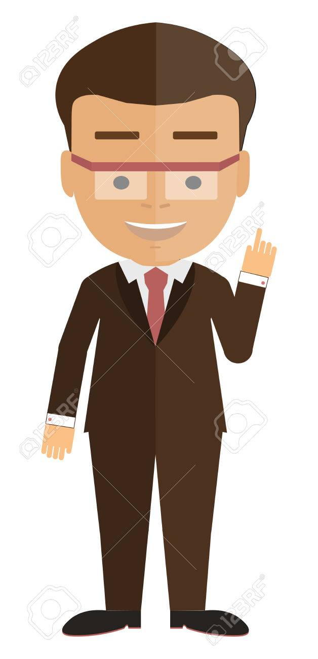Isolated Cartoon Businessman White Background Consultant