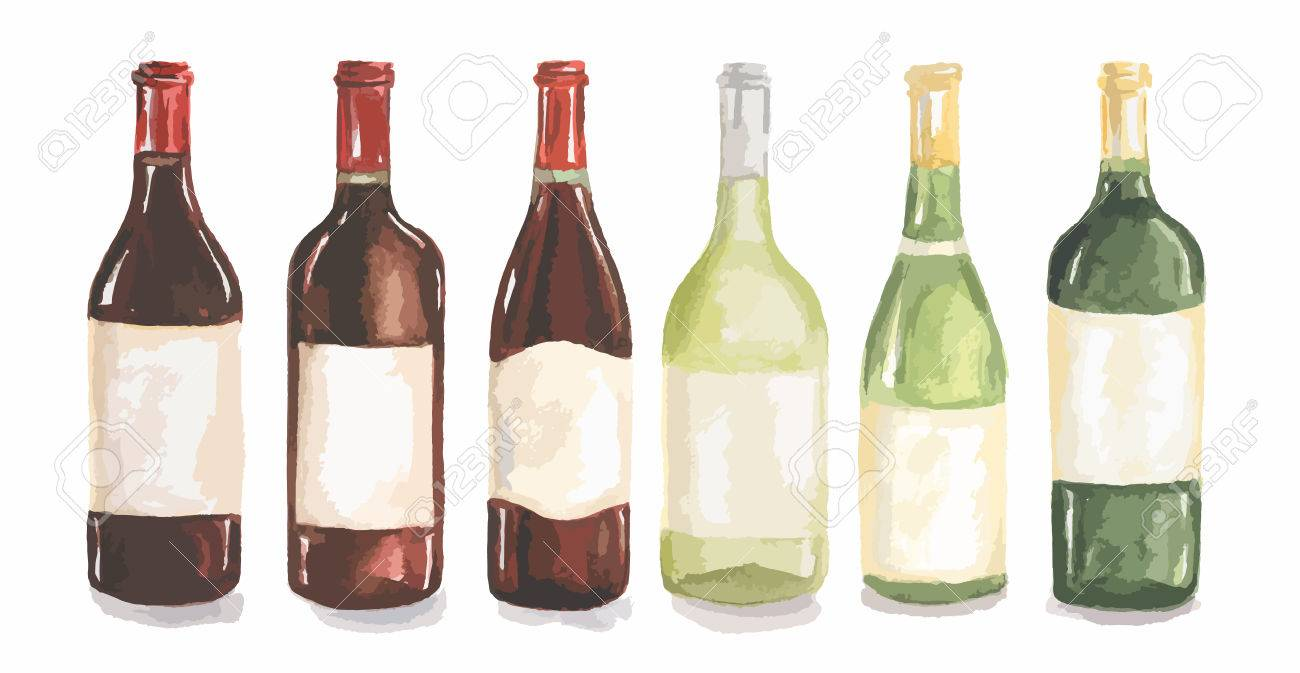 Aquarell Weinflaschen Eingestellt. Schöne Flaschen Für Die ...