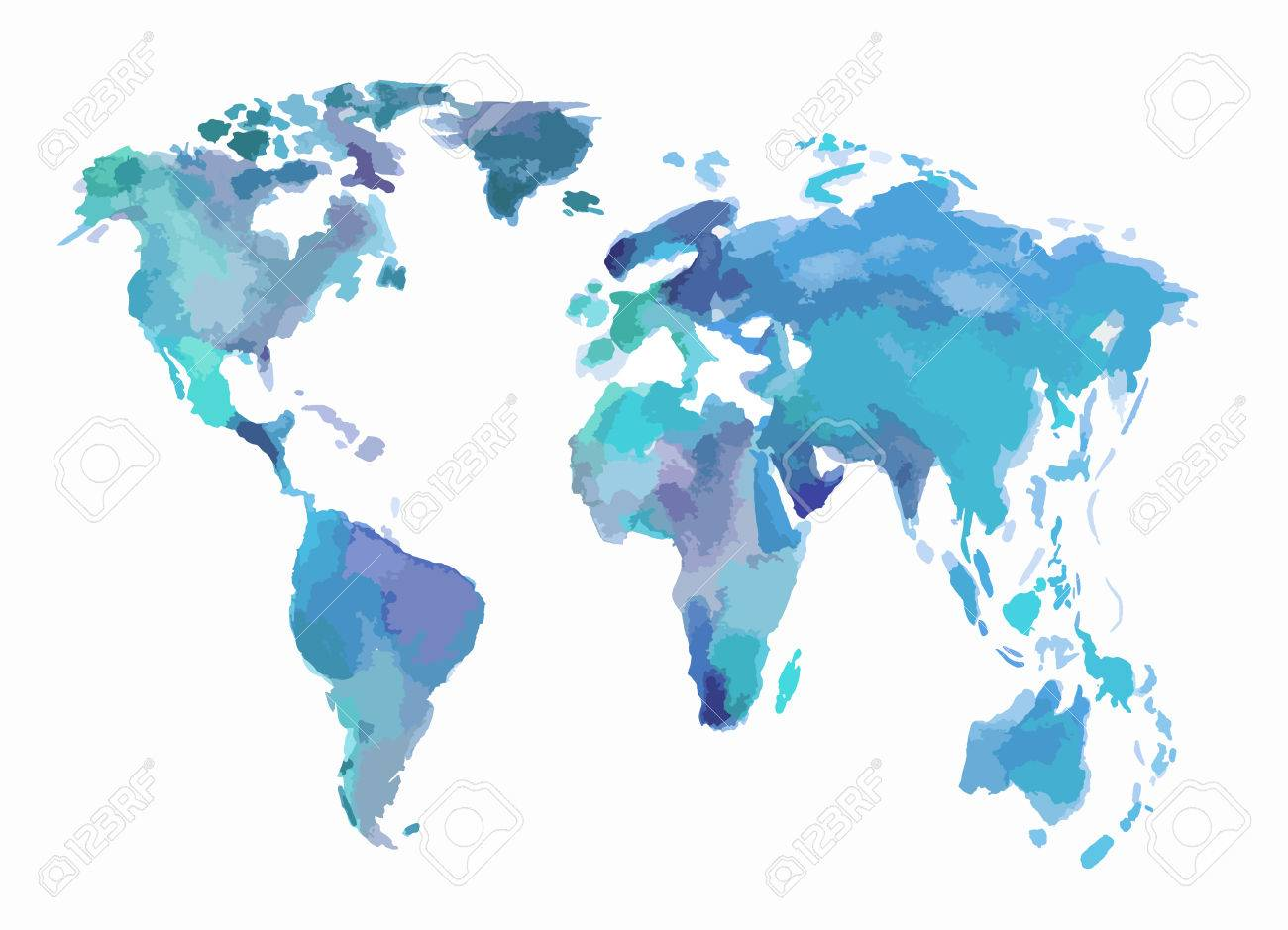 Beautiful Map Of The World.Watercolor Blue World Map Beautiful Map With Lands And Islands
