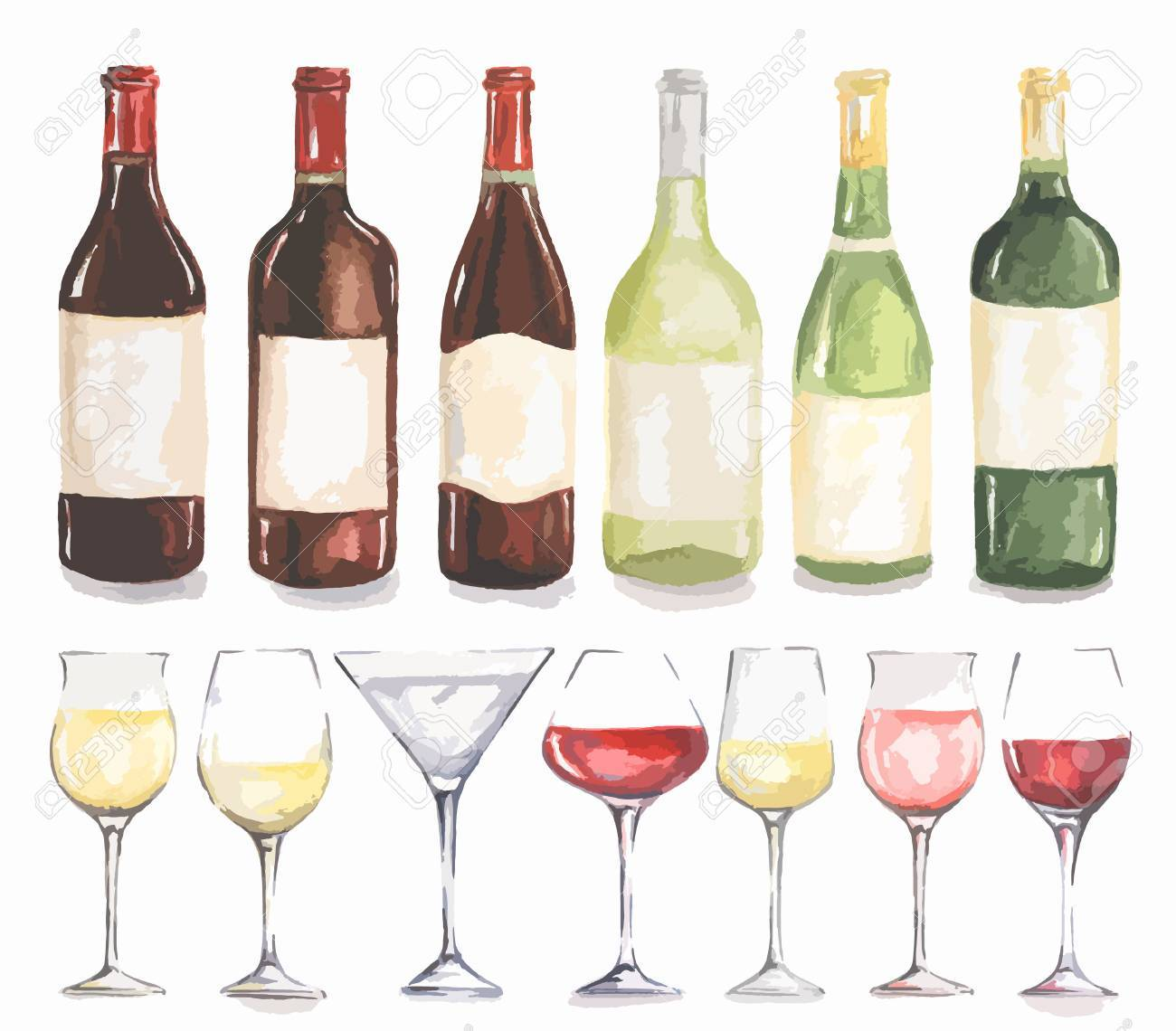 Watercolor Wine Bottles And Glasses Set Beautiful Royalty Free Cliparts Vectors Stock Illustration Image 61483134