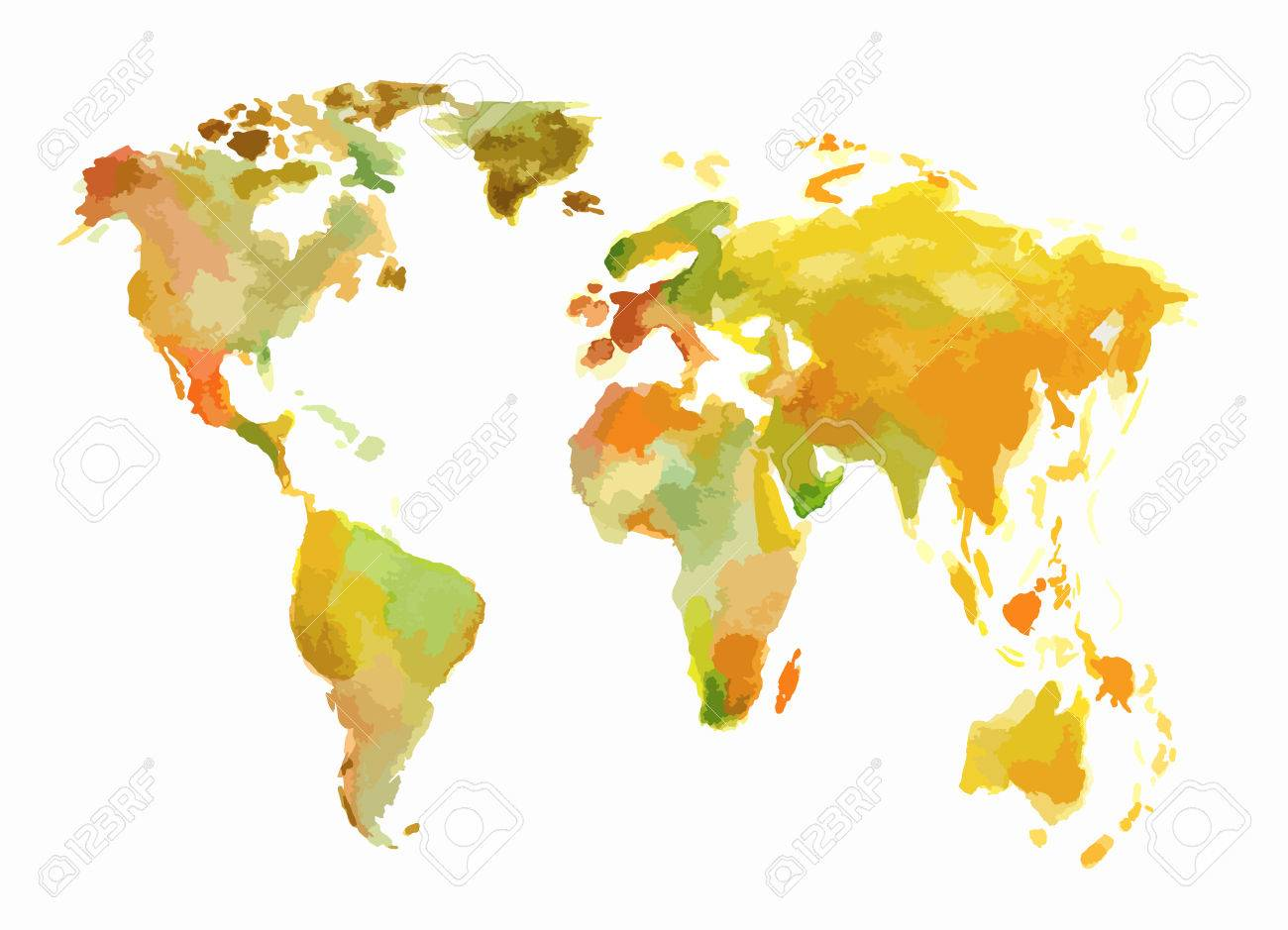 Watercolor world map beautiful map with lands and islands vector watercolor world map beautiful map with lands and islands watercolor illustration for decoration gumiabroncs Image collections