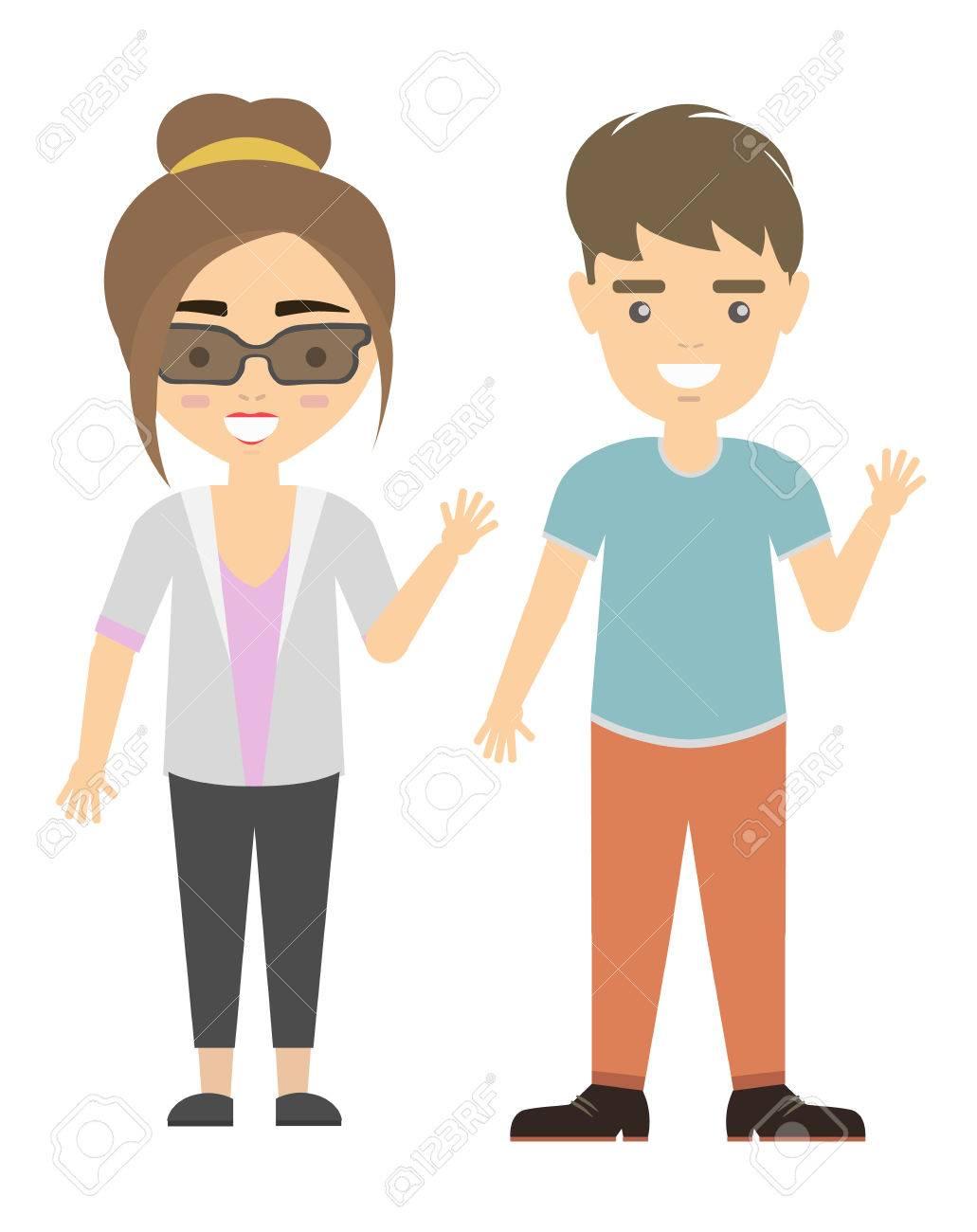 Isolierte Cartoon Paar Lustige Lächelnde Junge Mann Und Frau Auf