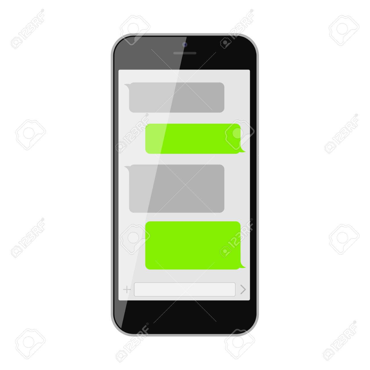 Smartphone text messaging  Template blank text bubbles  Social
