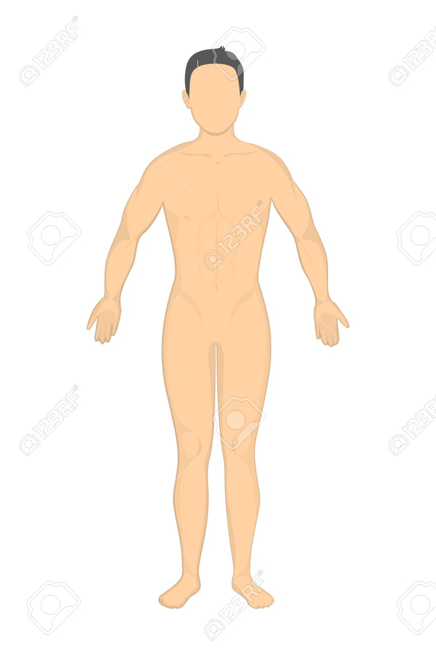isolated naked man. mockup man without face and genitals. concept