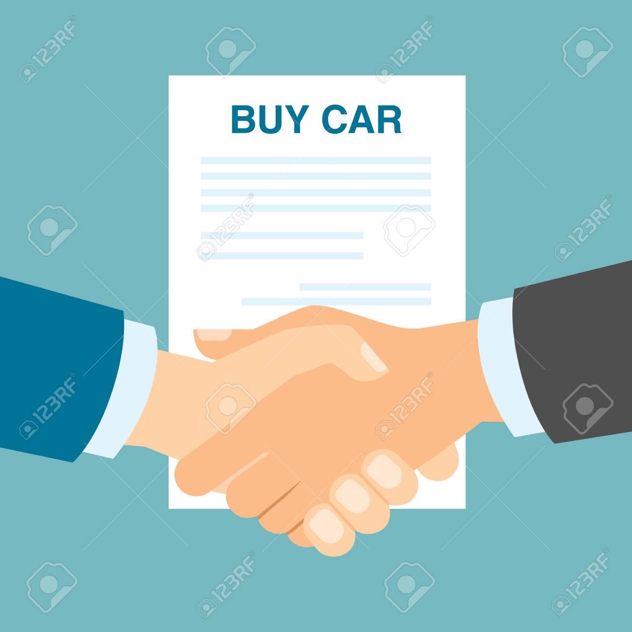 Buy Car Contract Handshake Men Shaking Hands In Agreement About