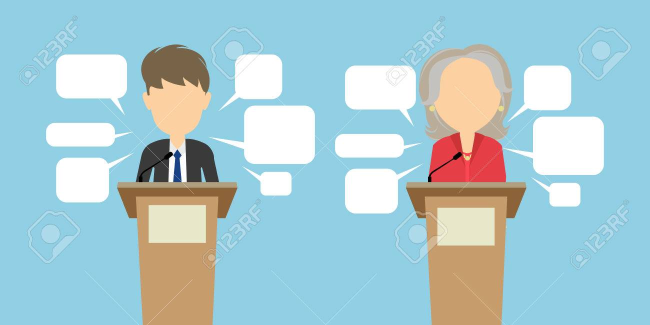 Two Speakers Debate Political Debates Or Speeches At The Conference  -> Imagem De Debate
