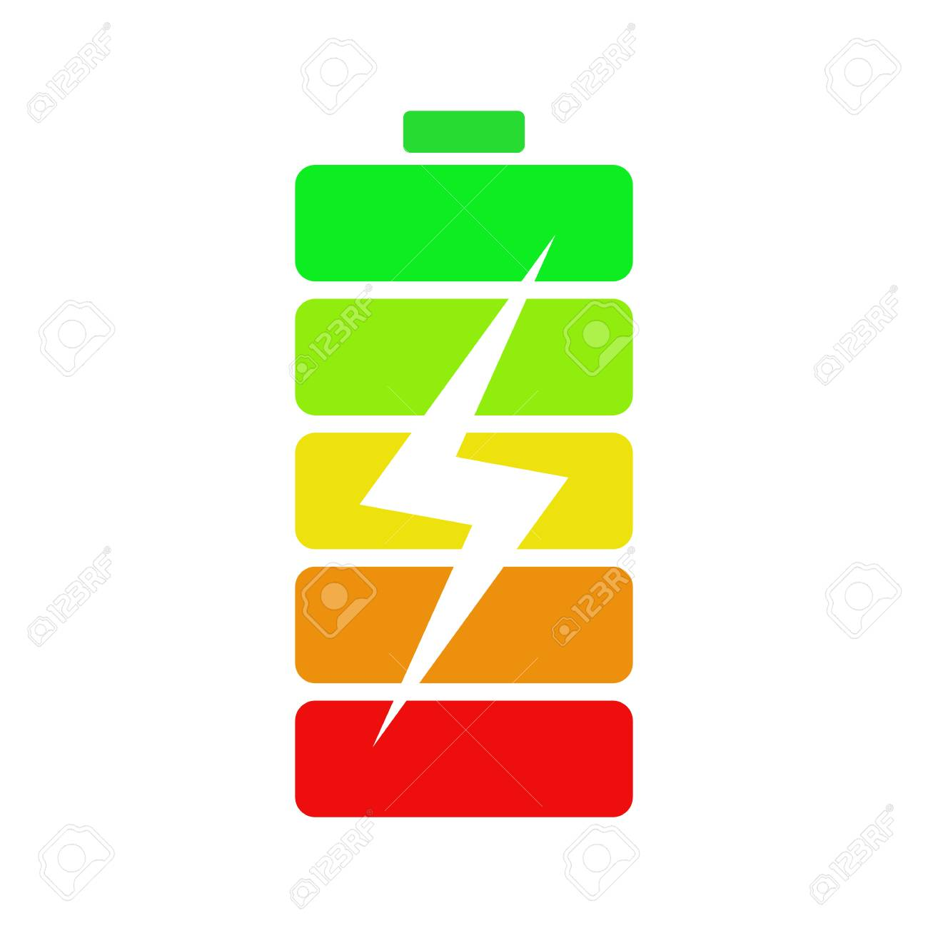 isolated colorful energy battery on white background accumulator