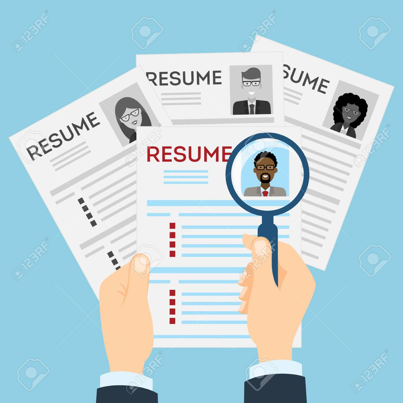 Amazing Resumes With Magnifier At The Table. Cv Resume Concept. Finding A Worker.  Apply Regarding Finding Resumes