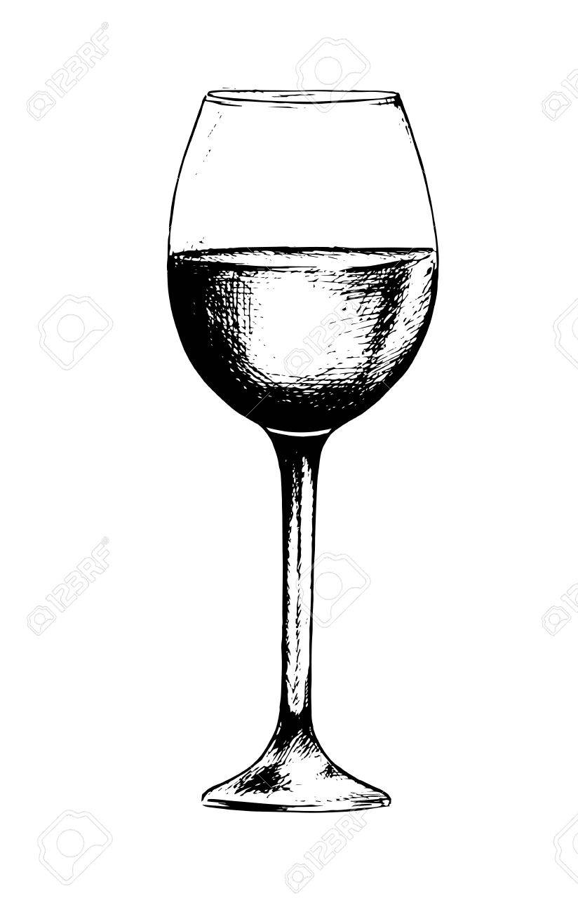 Lovely Isolated Champagne Glass. Black And White Etching Wine Glass  BJ76