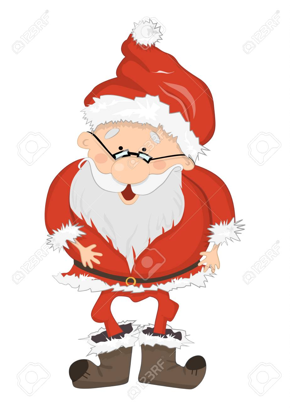 isolated santa claus funny smiling santa with glasses red suit and white beard - Santa Claus Red