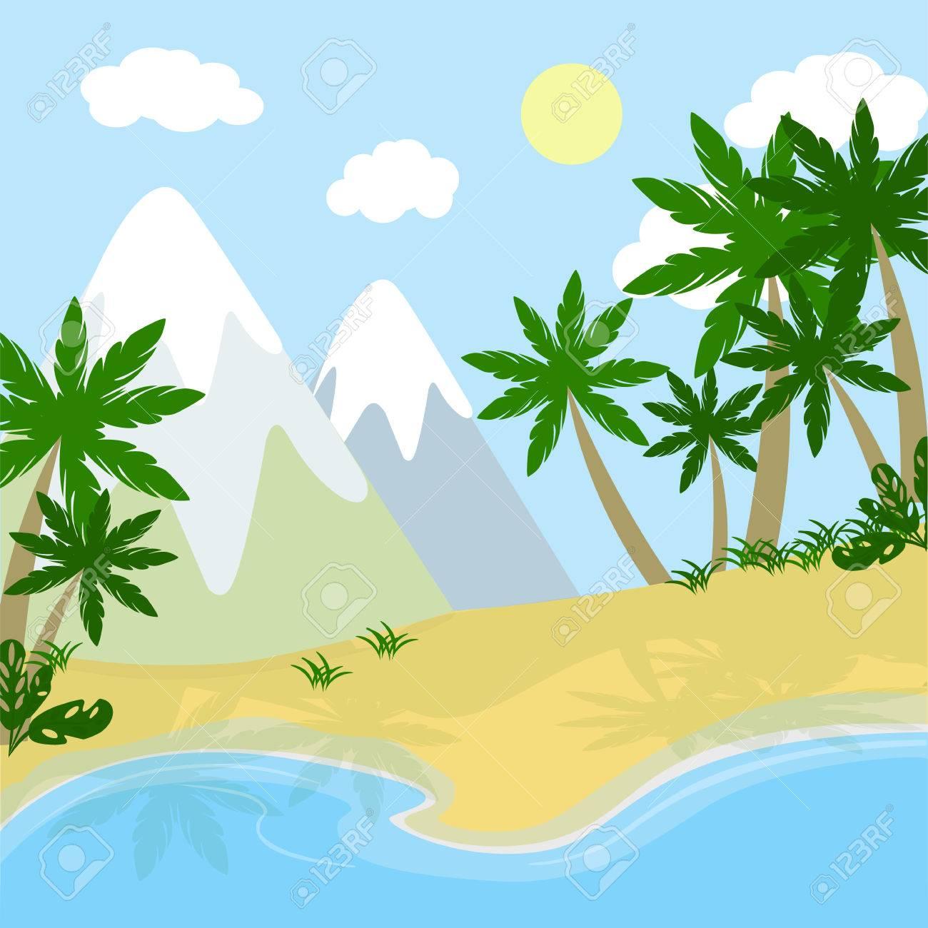 De Dibujos Animados Paisaje Prehistórico Ríos Montañas Y Playa Con