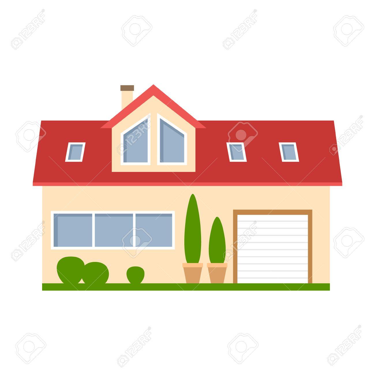 casa aislada de dibujos animados. casa suburbana simple con garaje ... - Bienes Inmuebles Dibujos