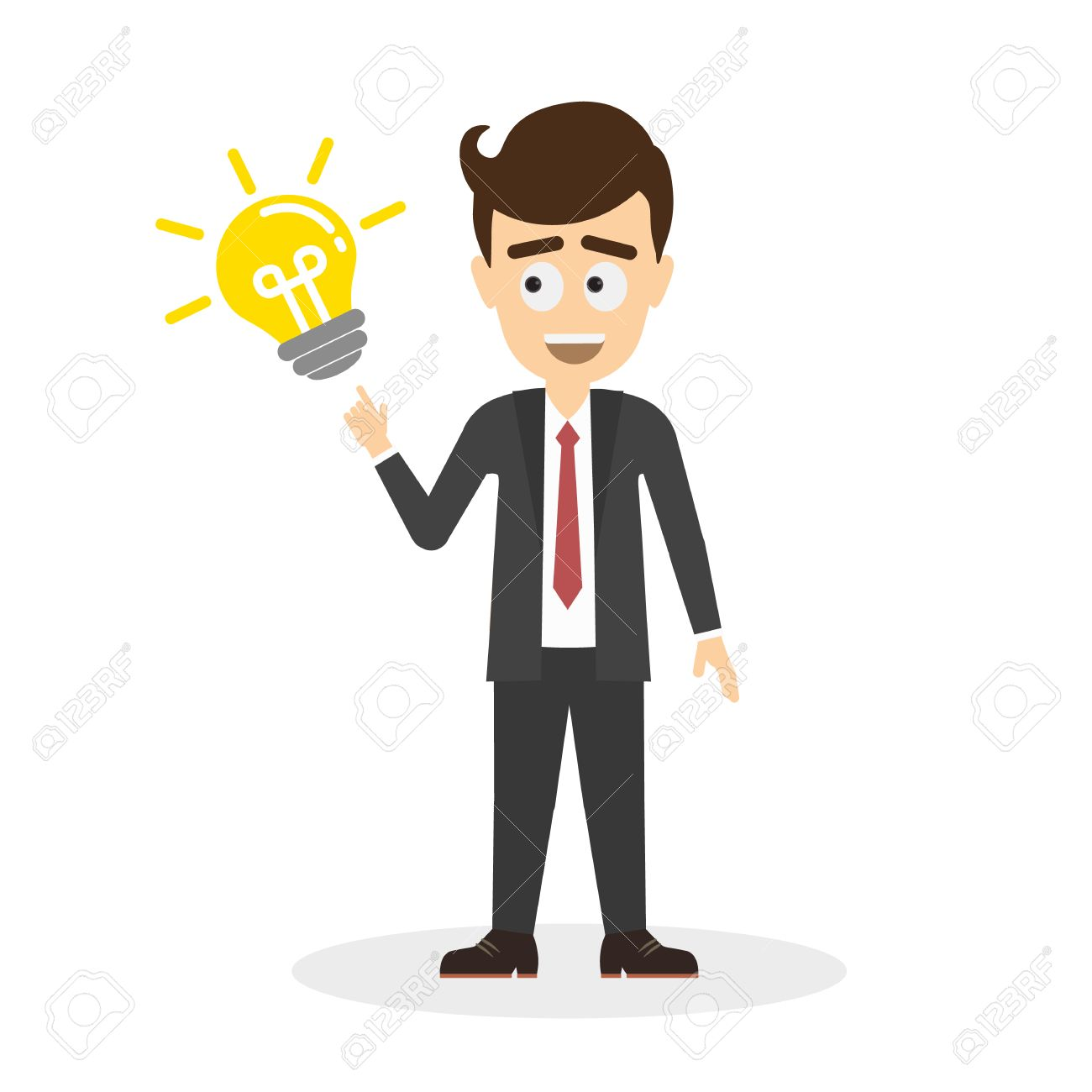 Businessman With Idea Light Bulb Isolated Cartoon Character On White Background Smiling Handsome Man
