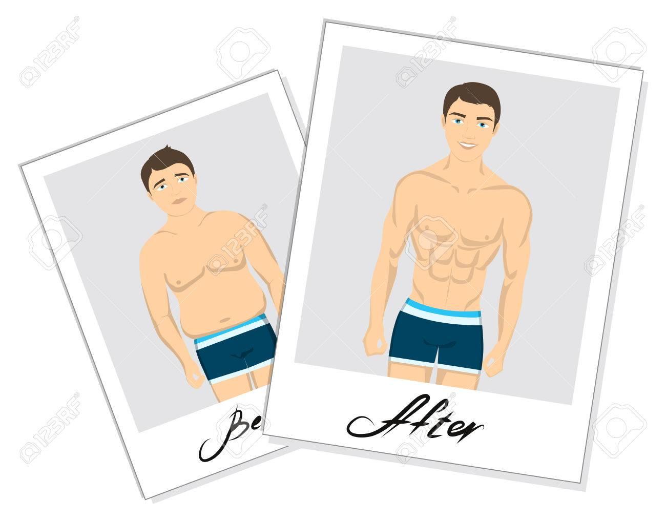 32e366b60d77 Antes y después de las instantáneas. el hombre no saludable de grasa antes  y después del ajuste delgado hombre. El hombre joven y guapo en ropa ...