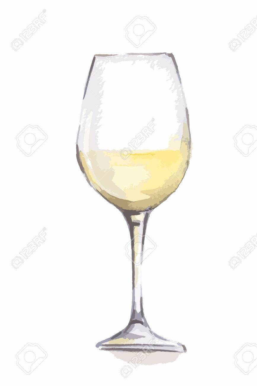 Brand new Watercolor White Wine Glass. Beautiful And Elegant Glass With  VJ13