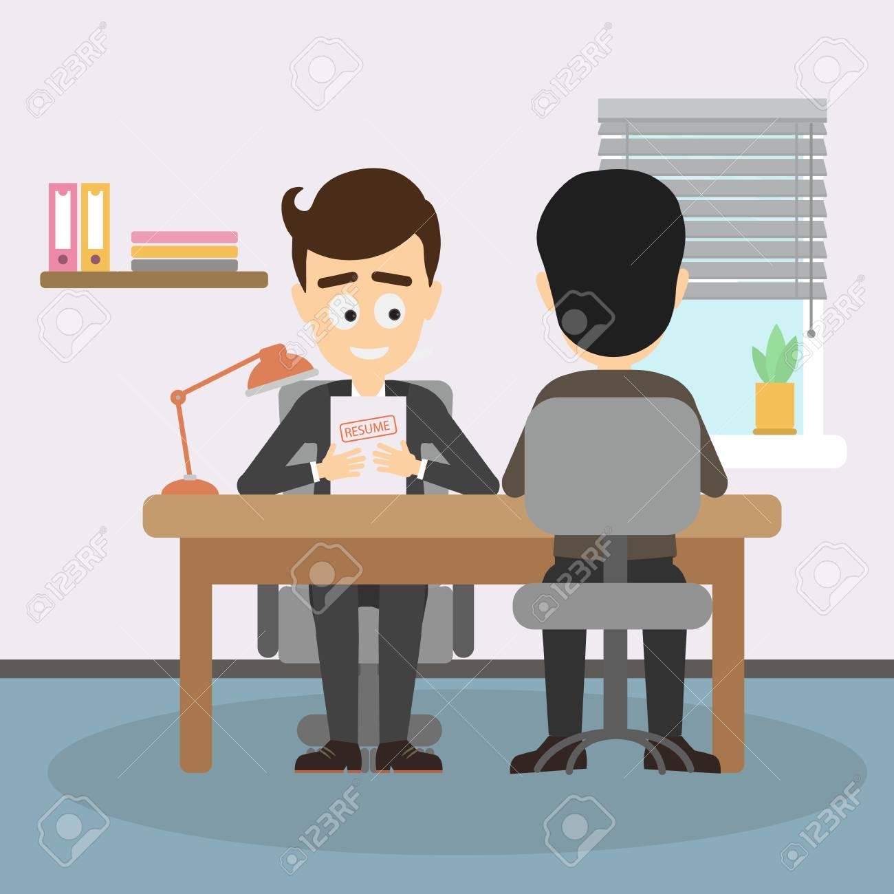 Businessman job interview  Boss interviewing new staff, findinf