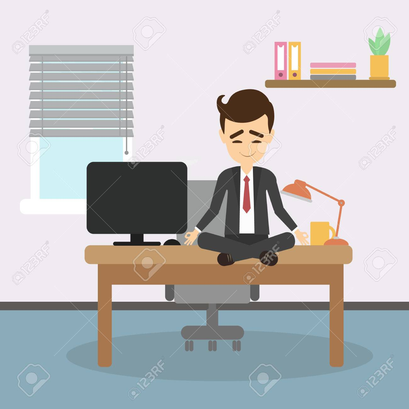 meditation businessman office. Meditation At Work. Businessman Sitting In Lotus Pose And Meditating. Relaxation Workplace. Office