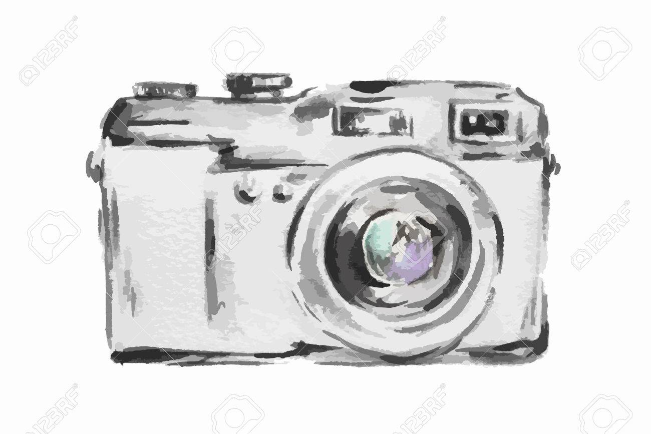 Camera Vintage Vector Free : Isolated watercolor camera on white background. simple photo