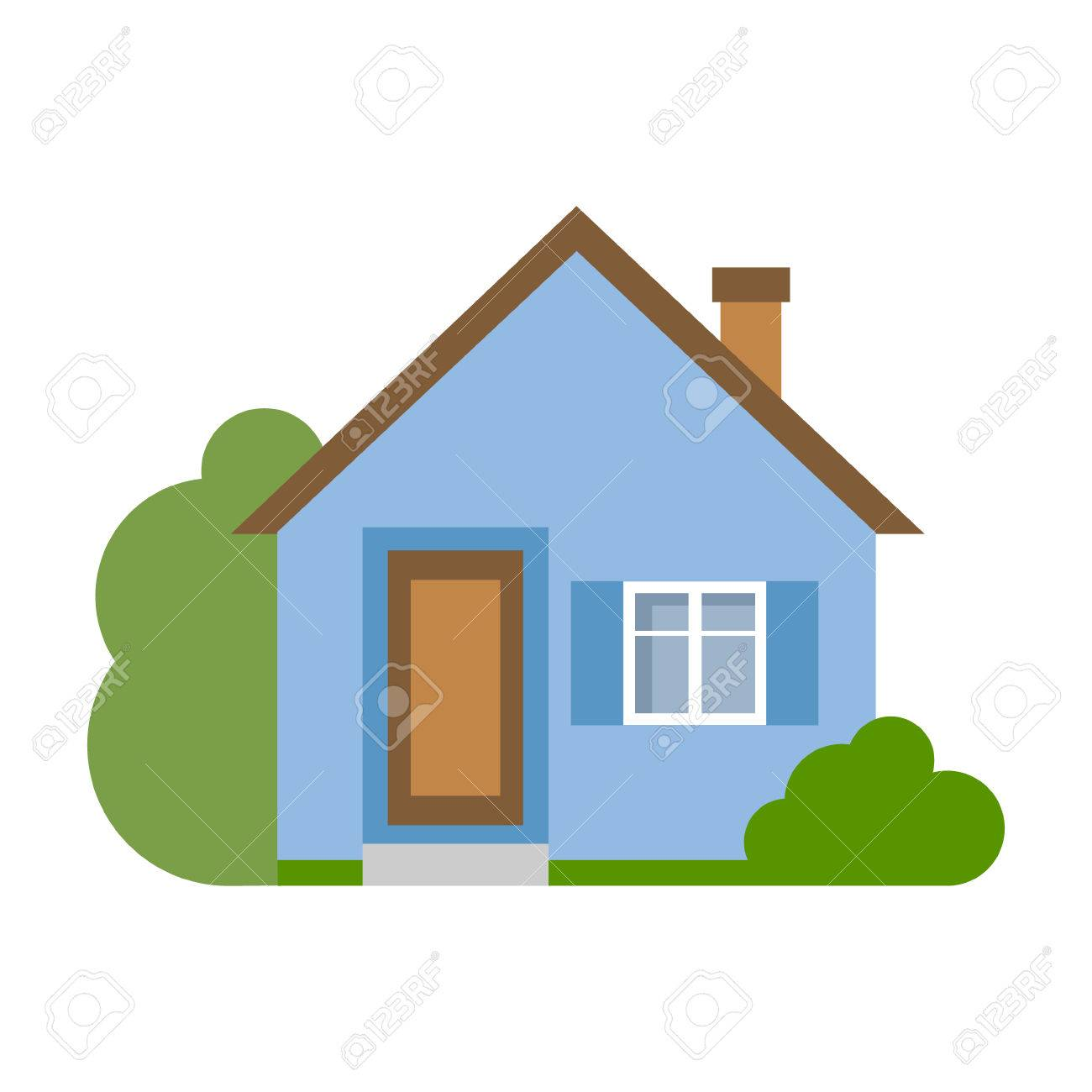 isolated cartoon house simple suburban house concept of real