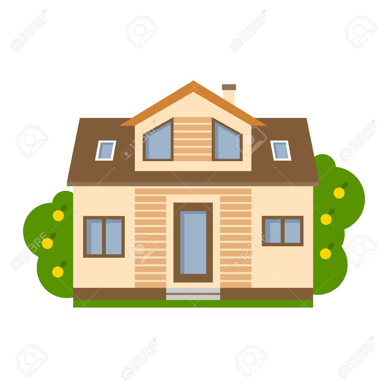 casa aislada de dibujos animados. casa suburbana simple. concepto ... - Bienes Inmuebles Dibujos