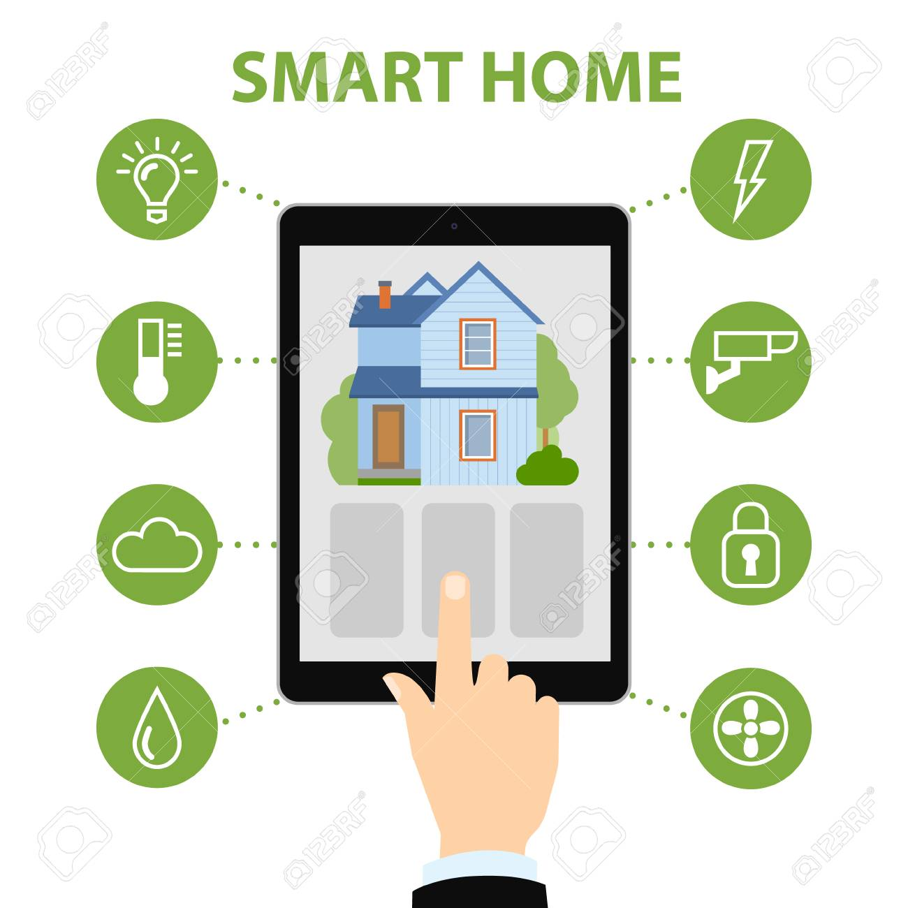 Smart Home System smart home concept hold tablet and home system