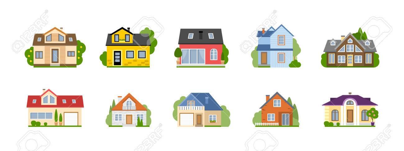 casas de dibujos animados conjunto aislado. casas suburbanas ... - Bienes Inmuebles Dibujos