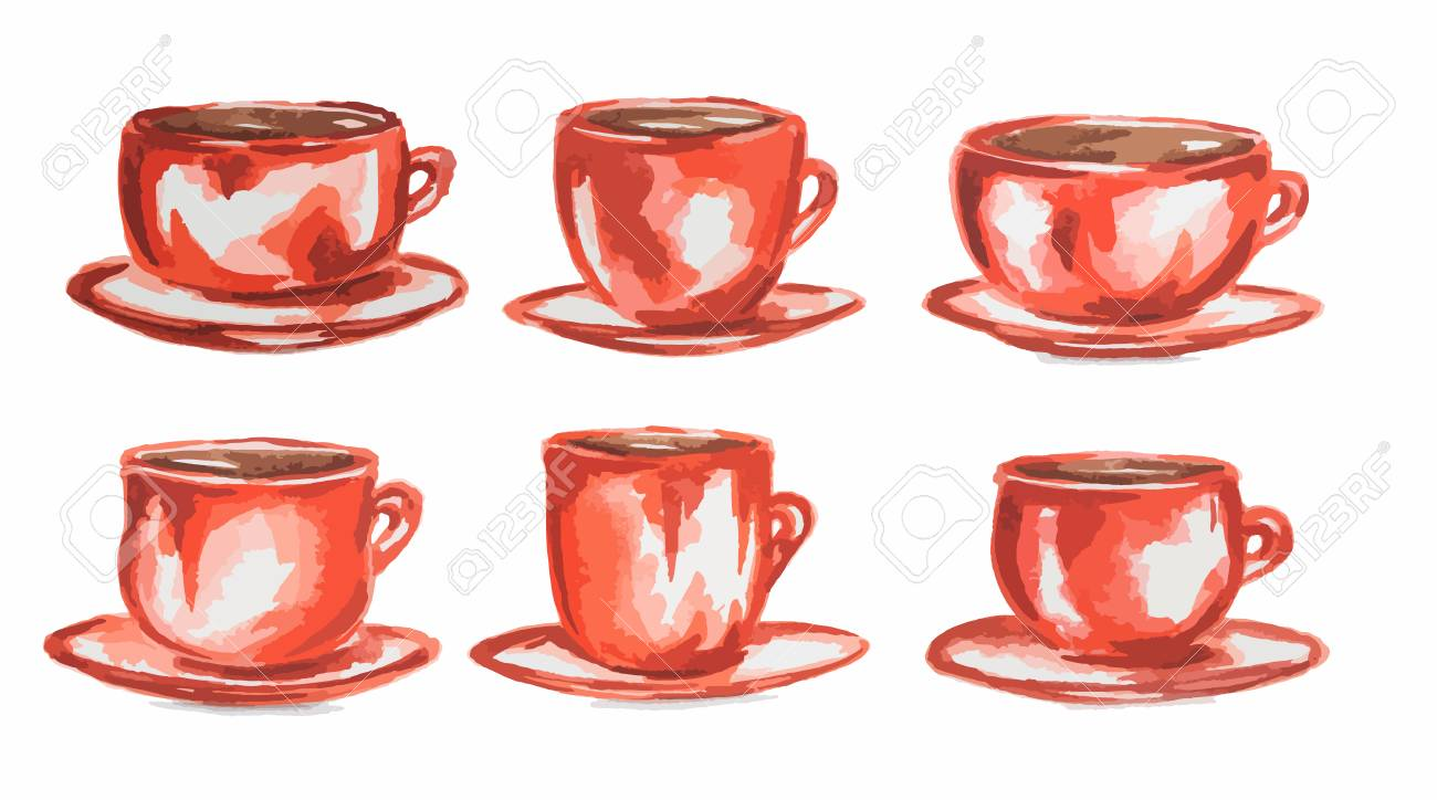 watercolor coffee set vintage retro red coffee cups on white