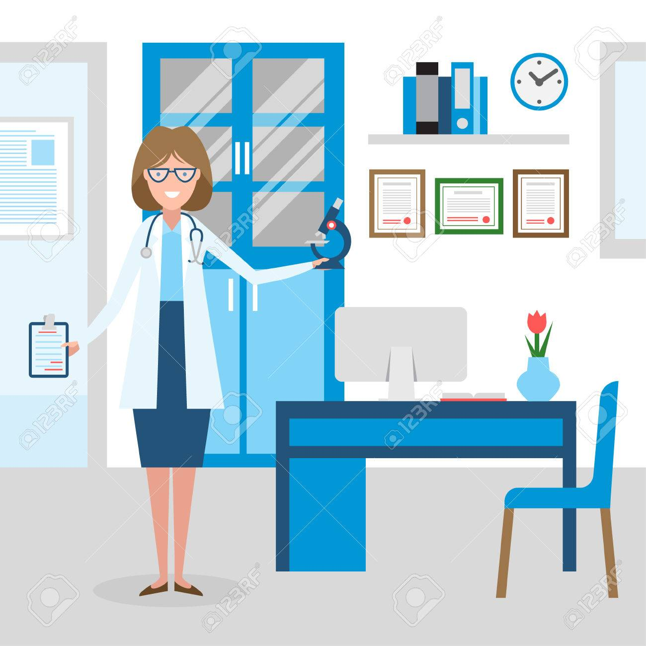Photo De Cabinet Medical doctor in the cabinet. funny smiling female doctor in the medical..