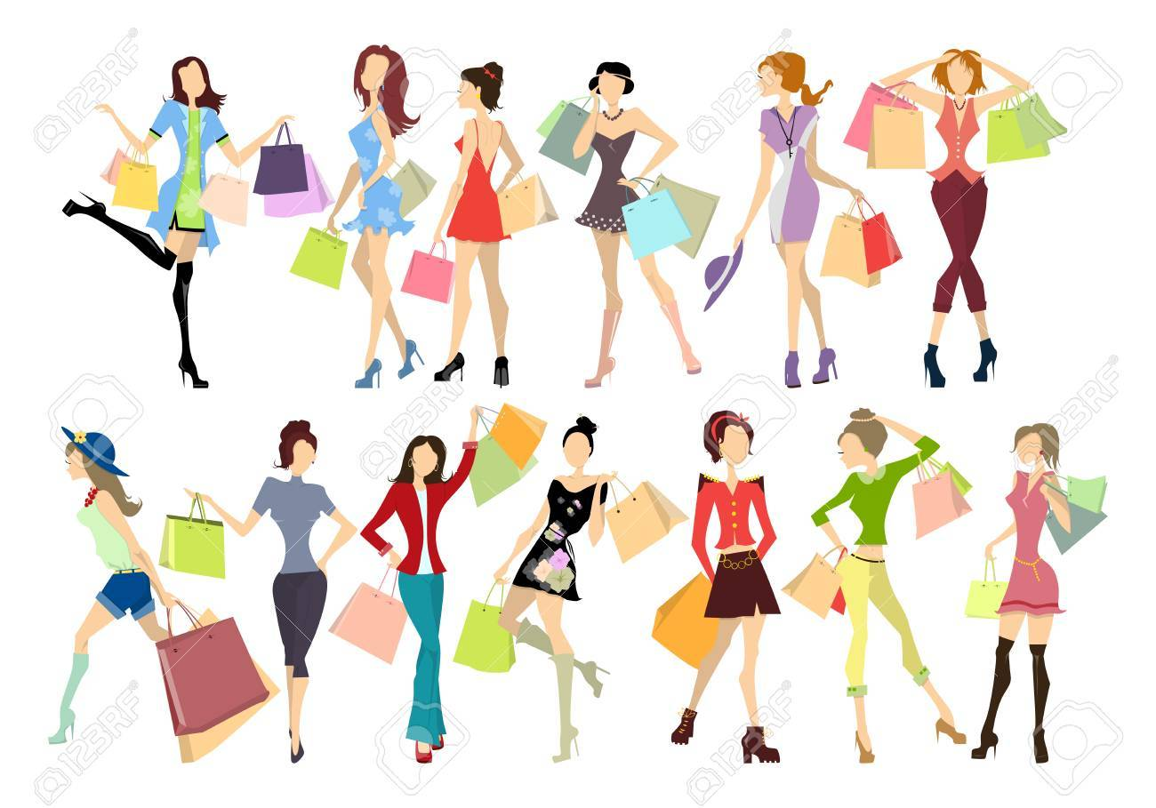Shopping women set. Elegant, young and slim women in different outfits with colorful shopping bags on white background. - 64398643