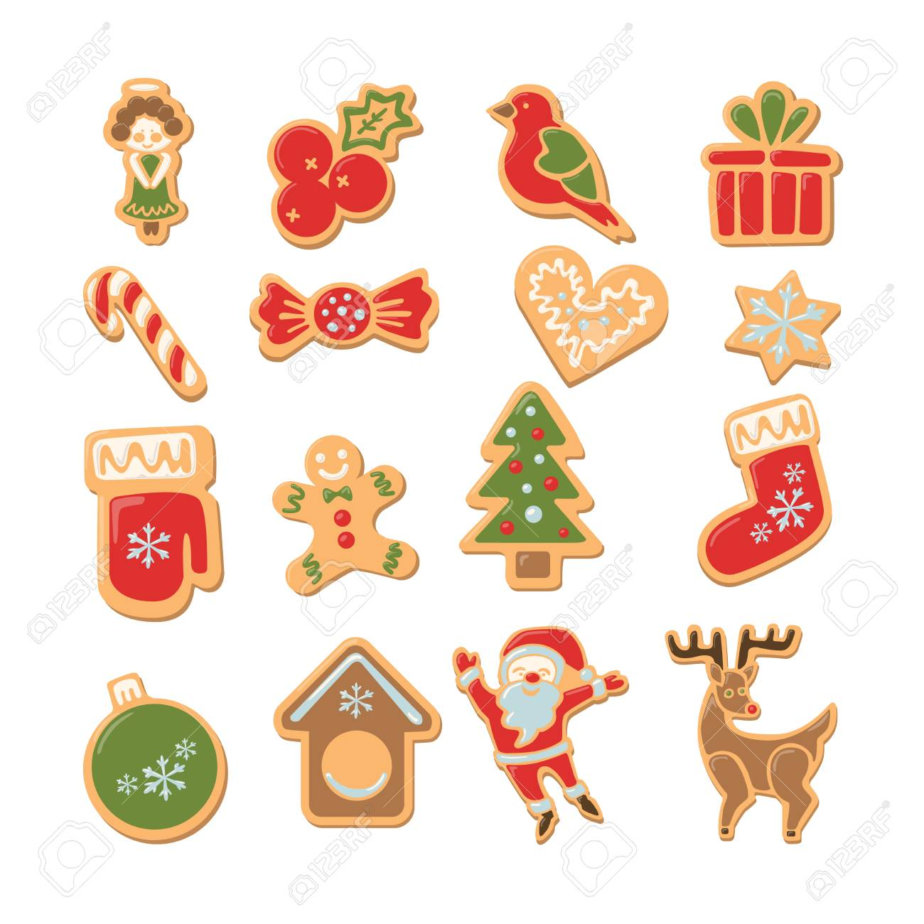 Christmas Cookies Set. Isolated Ginger Cookies With Decoration ...
