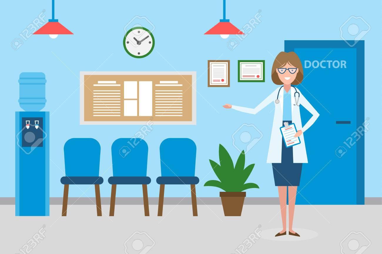 Chaises Salle D Attente Cabinet Medical docteur en salle d'attente. belle femme souriante en blanc debout dans la  salle d'attente. intérieur de l'hôpital avec des chaises et des