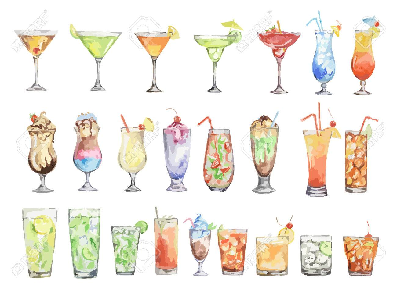 watercolor cocktails set. Isolated glasses with alcohol drinks on white background. - 65937663