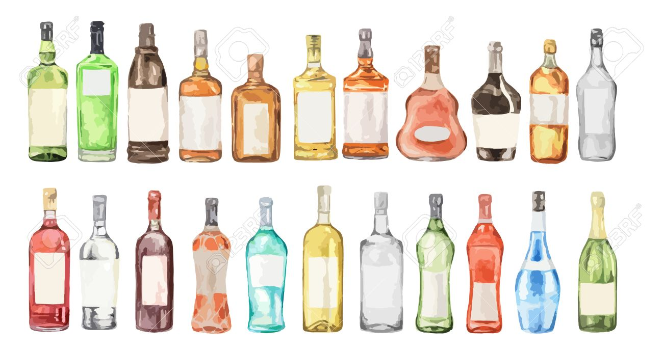 Watercolor Alcohol Set Many Bottles On White Background Wine Royalty Free Cliparts Vectors And Stock Illustration Image 66031708