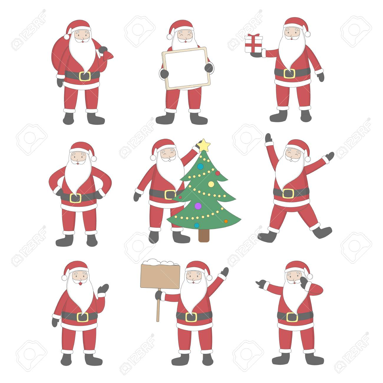 Santa Claus Set Happy Smiling Santa With Gifts Christmas Tree