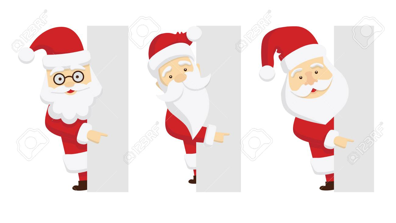 Santa Claus Template Set. Isolated Santa With Template Space ...