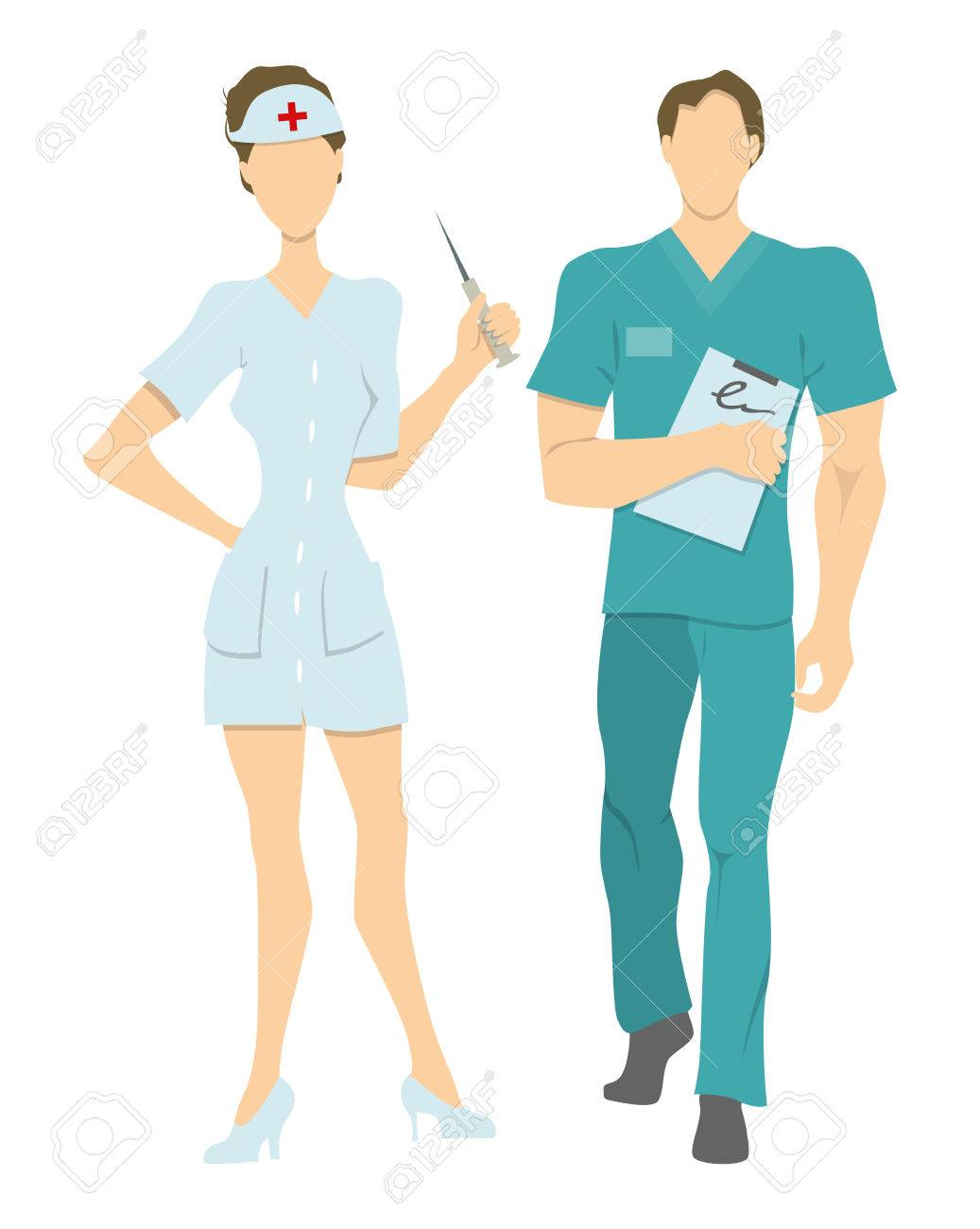 Isolated Professional Nurses Male And Female Nurses In Uniform Royalty Free Cliparts Vectors And Stock Illustration Image 66039483