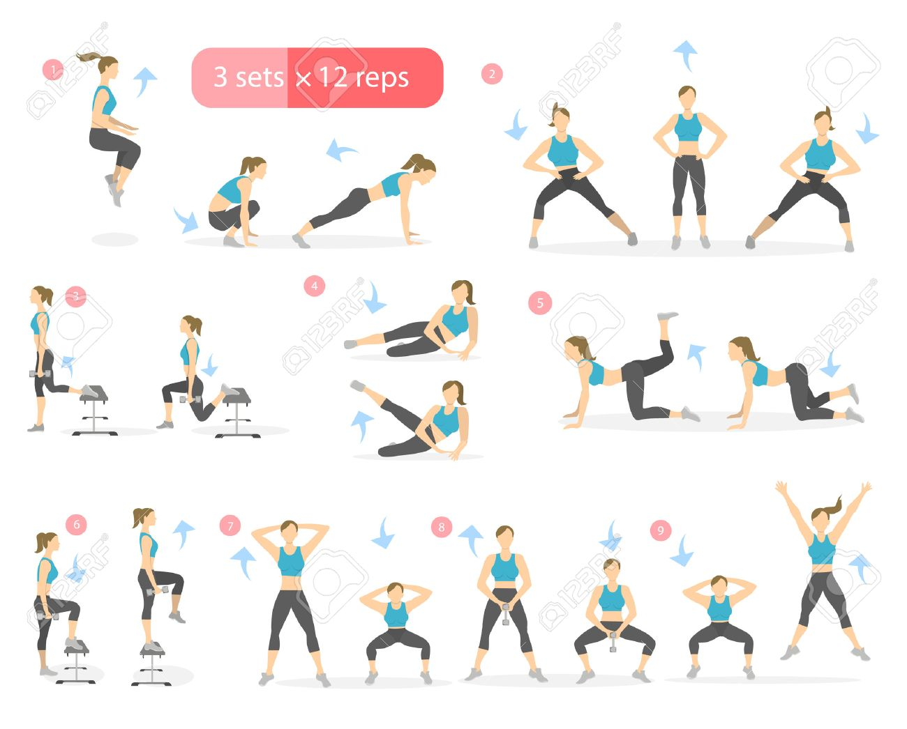 workout girl set woman doing fitness and yoga exercises lunges